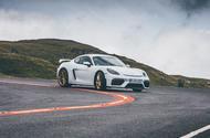 Porsche 718 Cayman GT4 driving - front