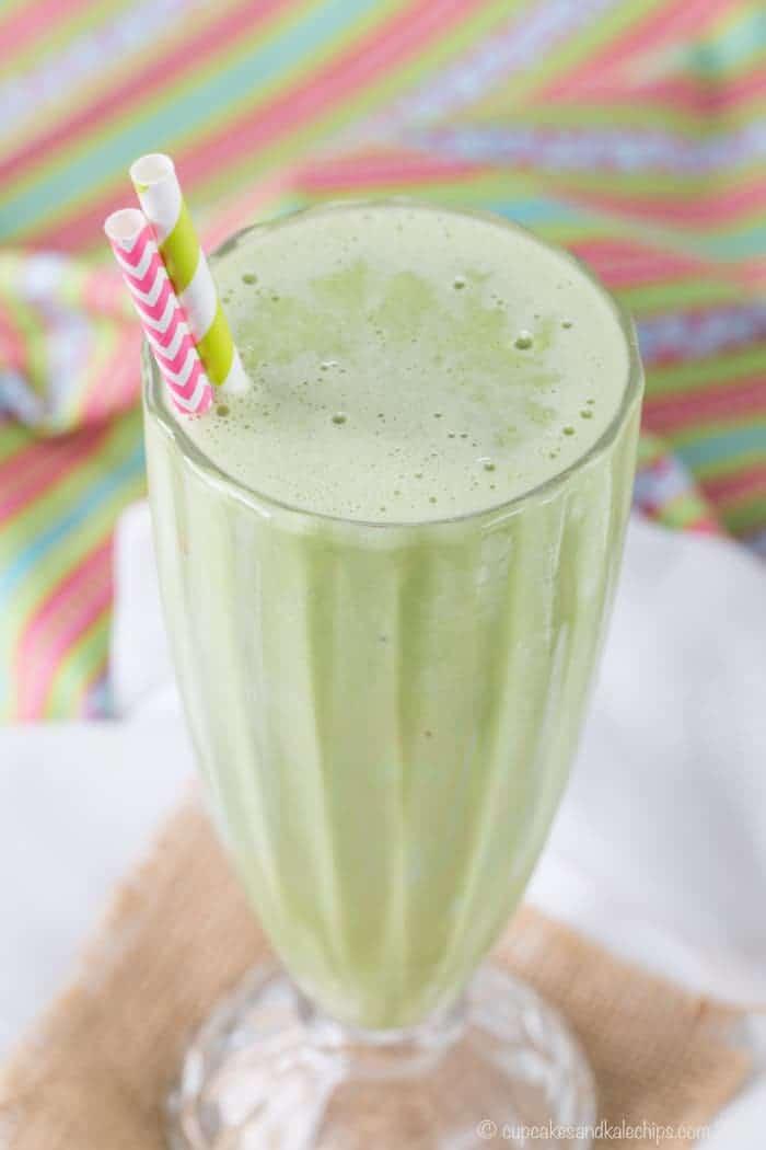 Tall milkshake glass with Shamrock Shake Mint Smoothie